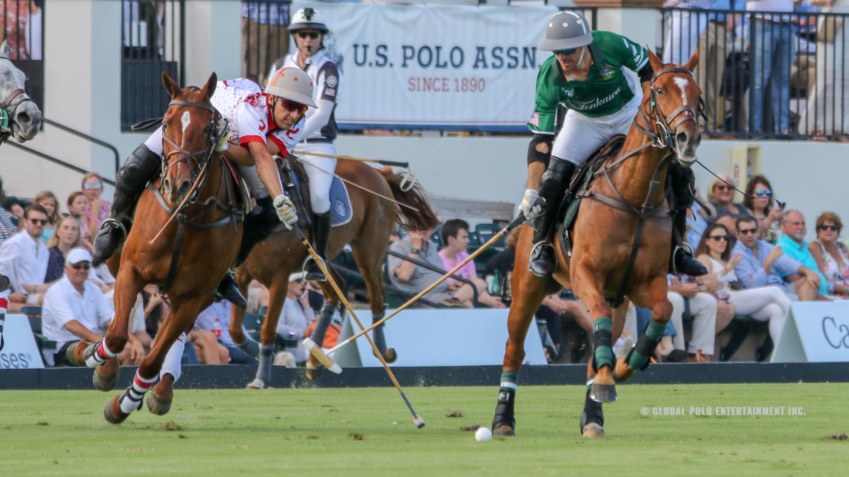 Polo players on horses during a match