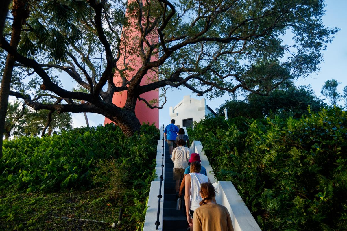 Group climbing stairs at Jupiter Lighthouse