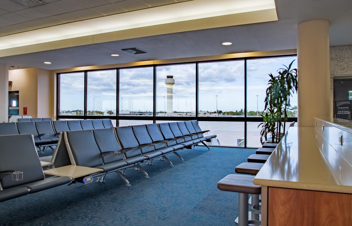 Picture of seating in terminal at PBI Airport.