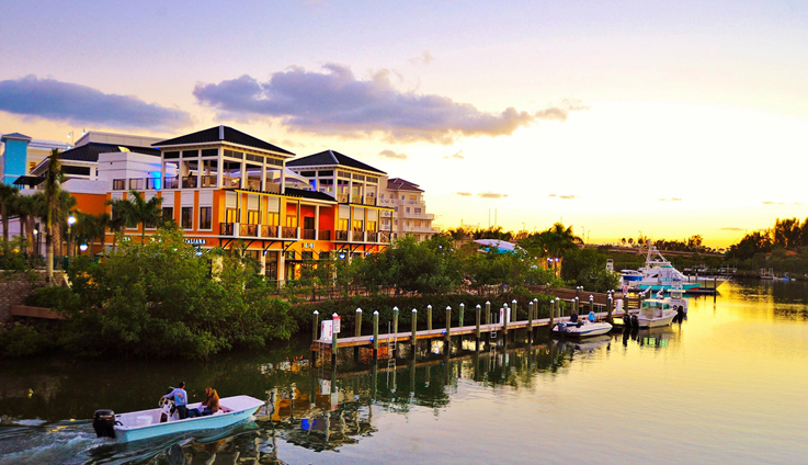 View of Shopping and Dining area Harbourside Place Jupiter Florida