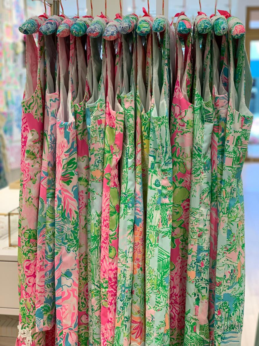 A variety of colorful Lilly Pulitzer shift dresses
