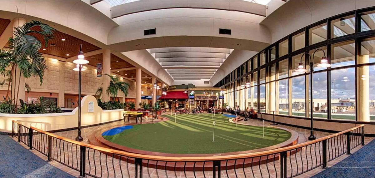 Putting green inside airport