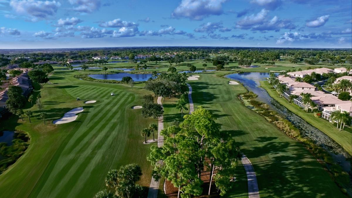 Aerial view of golf hole at PGA National