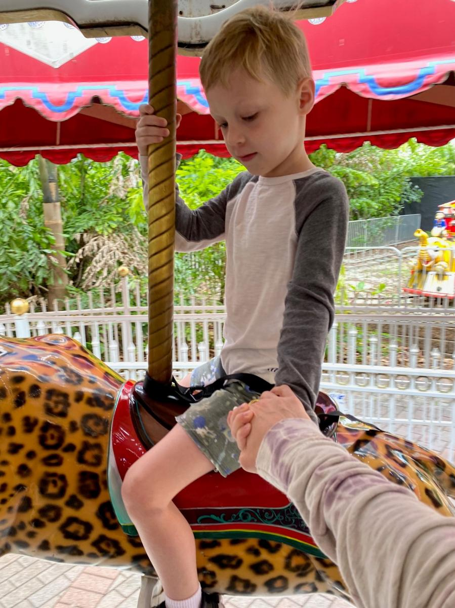 Riding the carousel at the Palm Beach Zoo