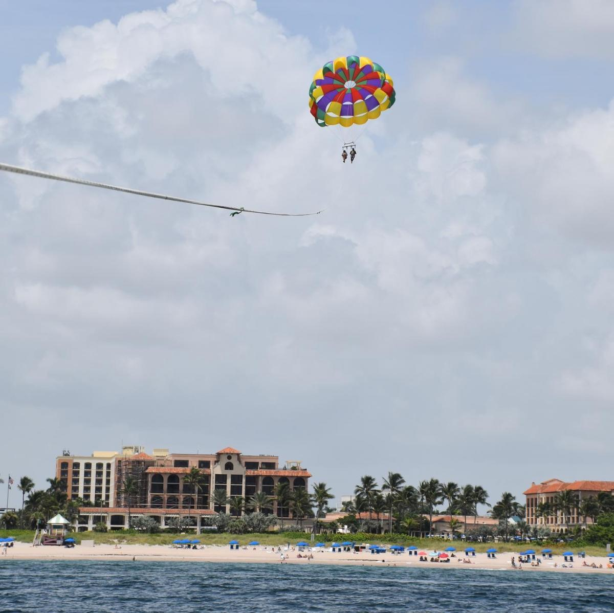 Parasailing over Atlantic Ocean