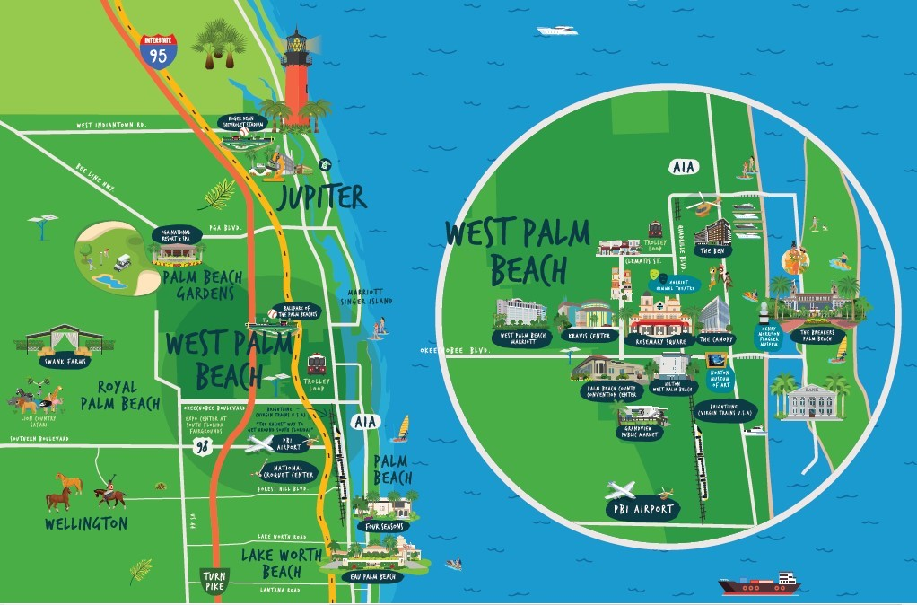 Zoomed-in view of West Palm Beach and northern Palm Beach County, Fla. (Not shown: Southern Palm Beach County, including the Delray Beach and Boca Raton city limits).