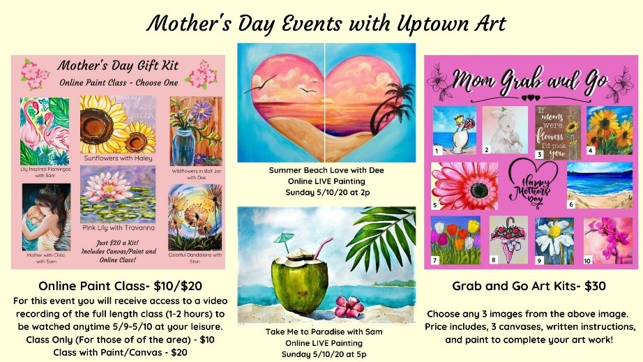 Uptown Art's Mother's Day Events flyer