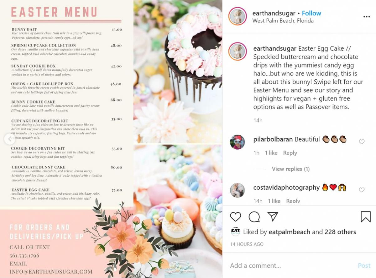 Easter Menu from Earth & Sugar