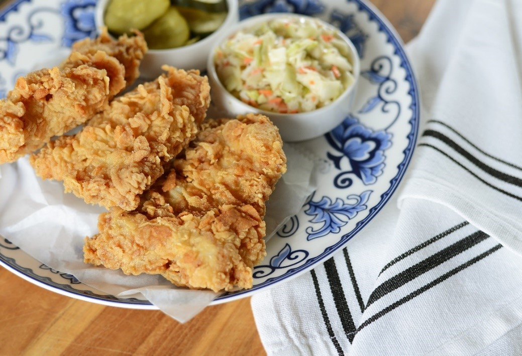 Fried Chicken Thighs with Coleslaw & Pickles