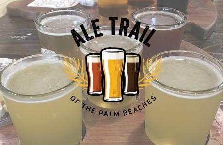 Beer flight with Ale Trail of the Palm Beaches logo