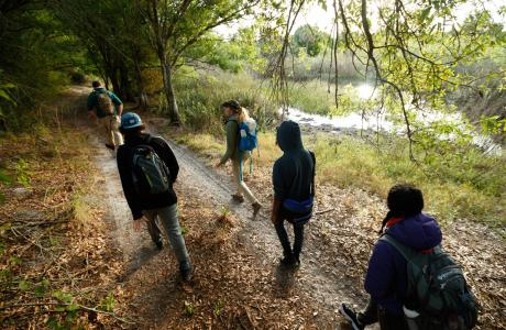 Group of hikers on a trail in The Palm Beaches