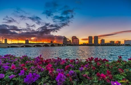 View of West Palm Beach at sunset