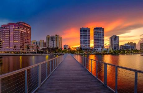 Downtown West Palm Beach at Sunset