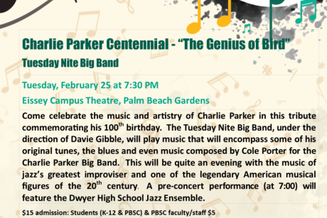 Charlie Parker Centennial - the Genius of Bird - PBSC Tuesday Nite Big Band
