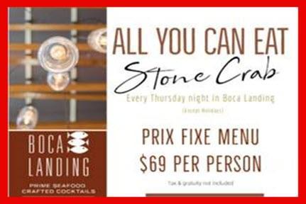 New Stone Crab Claws Dinner - Thursdays at Boca Landing