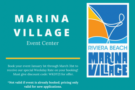 Special Weekday Rate for any day booking at the Riviera Beach Marina Event Center.