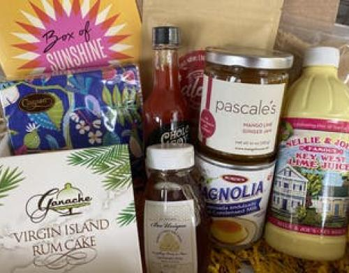 Box filled with local products from The Palm Beaches