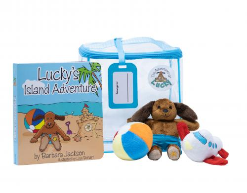 The Adventures of Lucky book and stuffed toy dog
