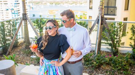 Rooftop drinks at Canopy by Hilton West Palm Beach Downtown; photo by Krystal Zaskey Photography