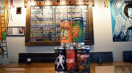 Craft beer cans at Mathews Brewing Co.