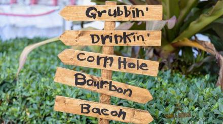 Signage at the Bacon & Bourbon Festival