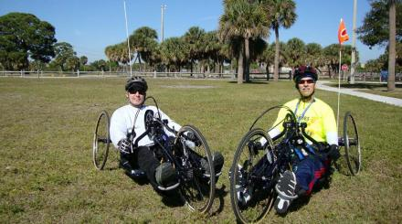 Handcyclists at John Prince Park