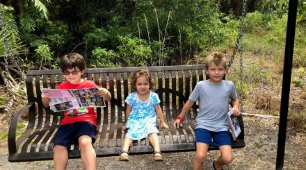 Kids on a bench at Jupiter Flatwoods Trail