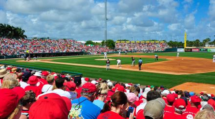 Sunny afternoon of Spring Training baseball