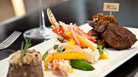 Mixed Grill featuring Steamed Crab Legs, Prime Deckel and Petit Filet