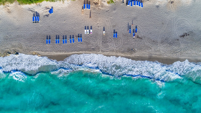 Aerial of cabana chairs on the beach