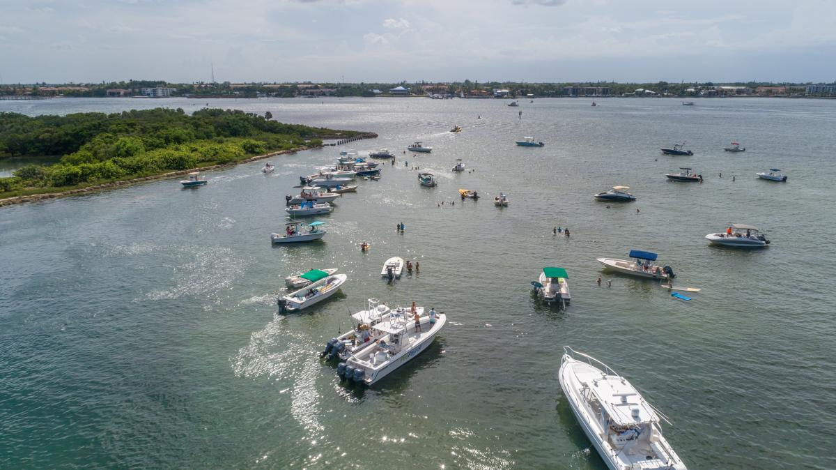 Boats mingle near Beer Can Island in Boynton Beach