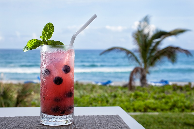 A fruit drink over looking the beach