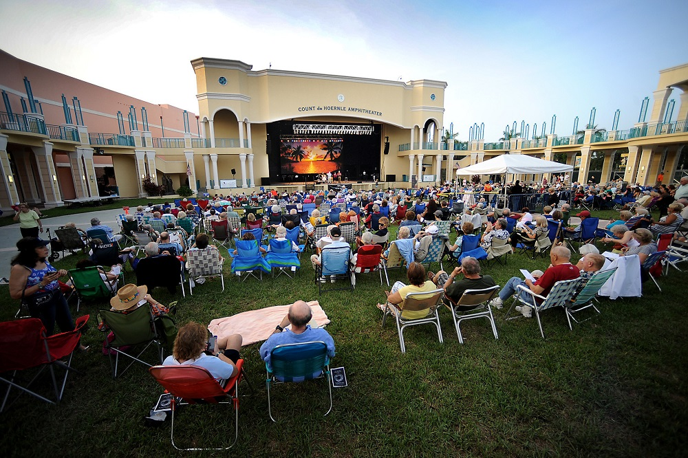 Crowd enjoying an outdoor concert at Mizner Park Amphitheater