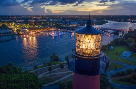 Night view from above Jupiter Lighthouse