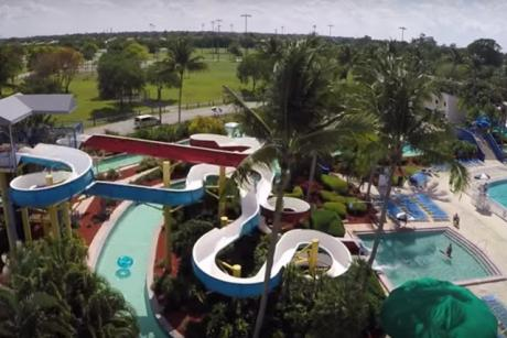 Calypso Bay Waterpark - Aerial view of slide