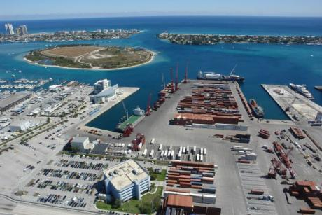 Port of Palm Beach - Aerial view of the 162-acre Port of Palm Beach in Riviera Beach, Florida