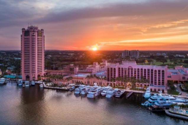 Sunset over Resort from Intracoastal Waterway