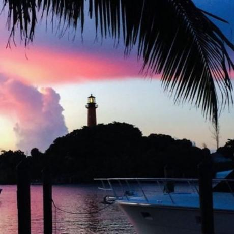 The Jupiter Lighthouse shines its beam over beautiful Jupiter, Florida