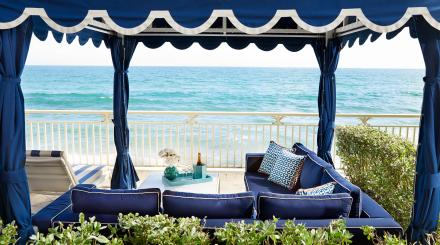 A Relaxing view of the Atlantic Ocean from a cabana at Eau Palm Beach