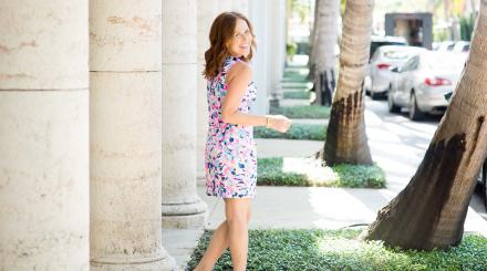 Blogger Alyson Seligman wearing a Lilly dress
