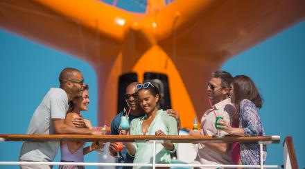 Travelers enjoying a cruise to the Bahamas