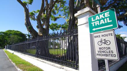 The Lake Trail sign near Flagler Museum, Palm Beach, Florida