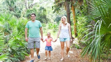 family in hiking trails